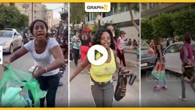 لبنانية تلقي خادمتها في وسط الشارع