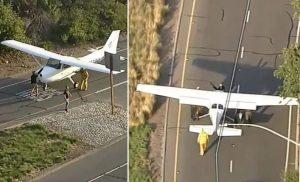 هبوط اضطراري لطائرة على طريق سريع