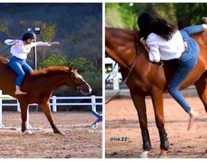 فتاة حسناء تستعرض مهاراتها في ركوب الخيل