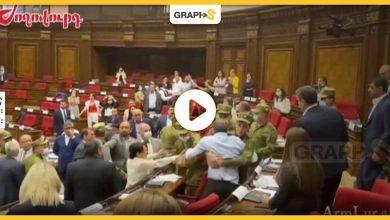 بالفيديو|| عراك وشغب وفوضى عارمة تسود جلسة البرلمان الأرميني