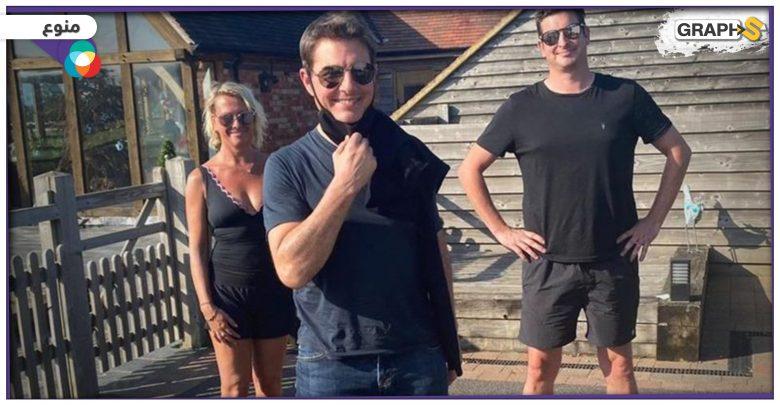 """""""هبط من السماء"""".. توم كروز يثير دهشة عائلة بريطانية بنزوله بمروحيته في حديقة منزلهم"""