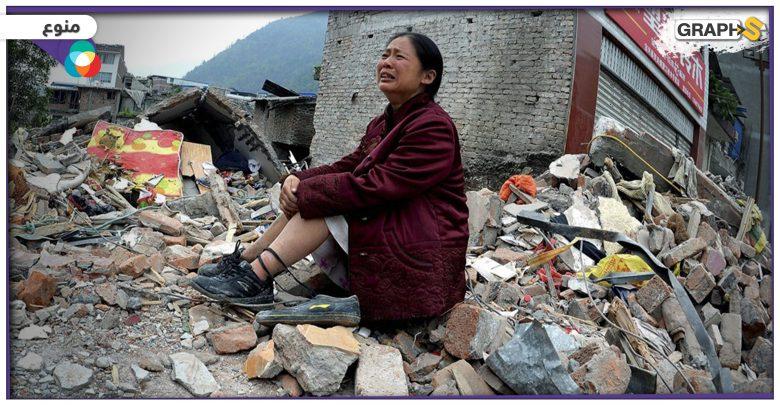 """بالفيديو   زلزال مدمر يضرب مدينة """"سيتشوان"""" الصينية ويوقع خسائر هائلة.. مصرع 9 أشخاص بارتفاع مفاجئ لأمواج البحر في فرنسا"""