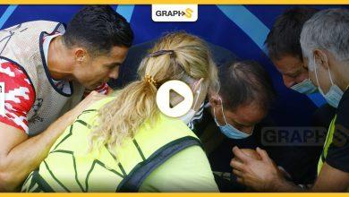 """بالفيديو والصور   تسديدة رونالدو """"الخارقة"""" تسقط رجل أمن وتعرضه لإصابةٍ بالغة.. أول تعليق للاعب بعد الخسارة المؤلمة لفريقه على يد النادي السويسري"""