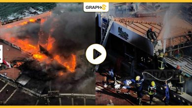 بالفيديو|| حريق هائل يلتهم عدة مطاعم على كورنيش الإسكندرية