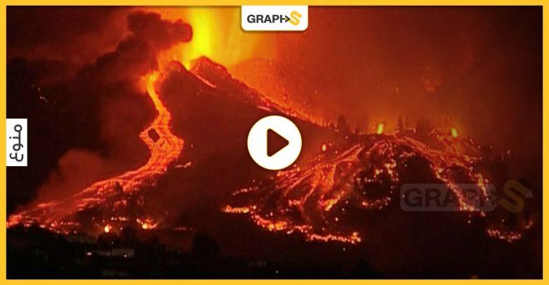 حمم بركان جزيرة بالما الإسبانية تصل البحر.. والسلطات تحذر الأهالي من كارثة خطرة وشيكة - فيديو وصور